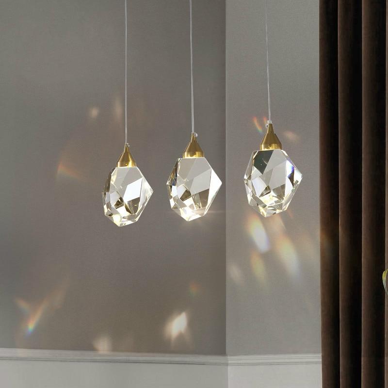 Işıklar ve Aydınlatma'ten Kolye ışıkları'de Amerikan ışık lüks avize kristal lamba oturma odası yemek odası lamba koridor lambası basit yaratıcı yatak odası kolye lamba title=