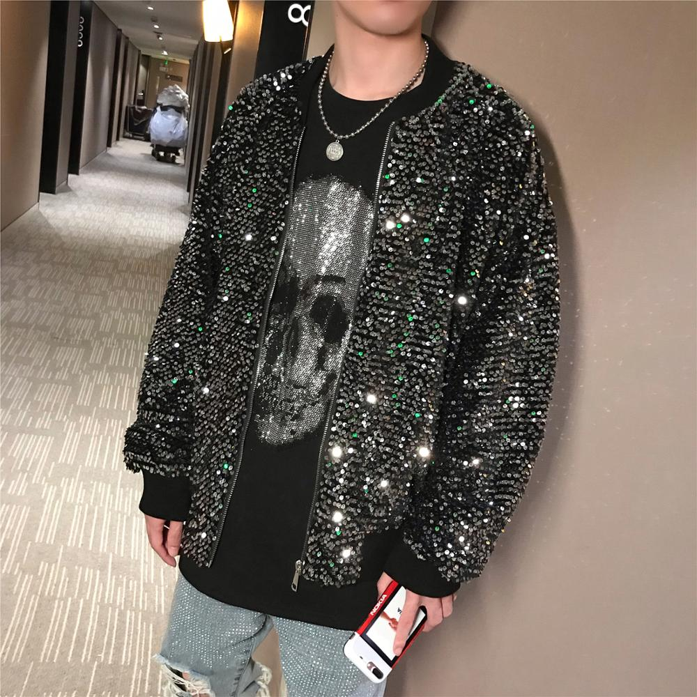 Men High Quality Stage Performance Sequined Jacket Autumn Winter Hip Hop Male Fashion Long Sleeve Outwear Loose Jackets