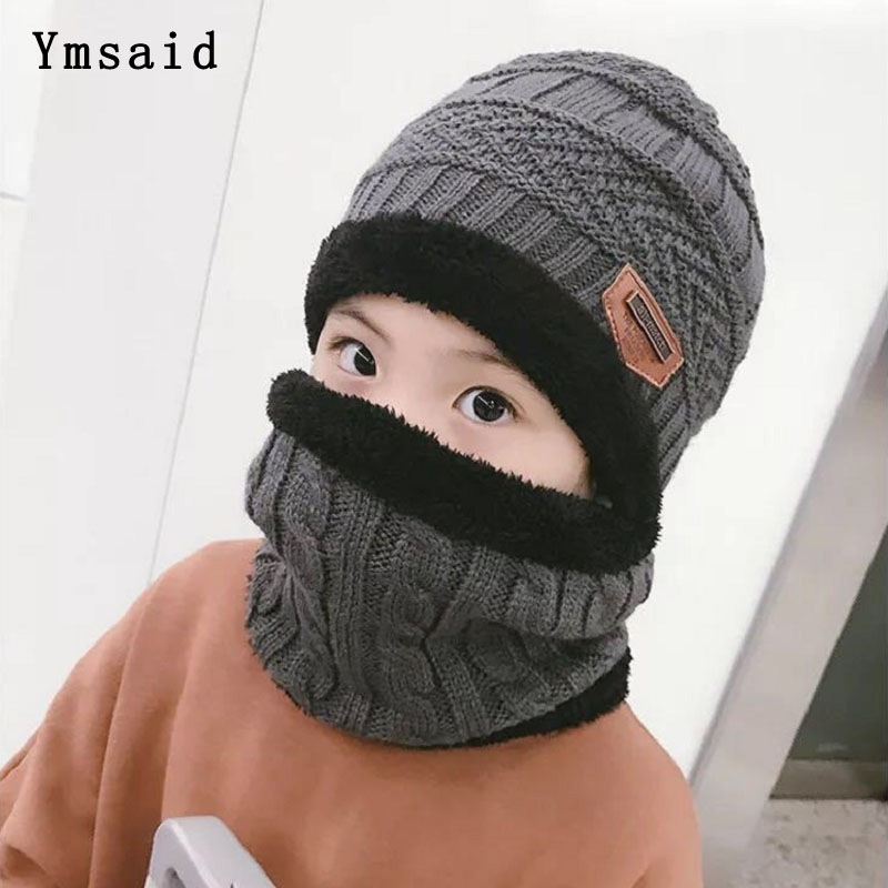 Children Knitted Hat Winter Warm Baby Kids Cap Skullies Beanies Circle Scarf Thicken Fleece Lining For 2-12 Years Boys Girls