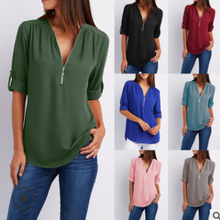 Women's new V-neck zipper sleeves loose chiffon long-sleeved shirt women's T-