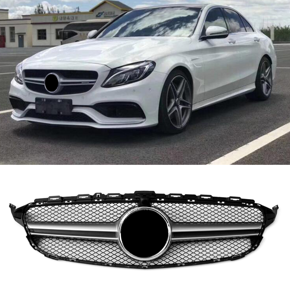 Without Camera Hole Front Bumper Upper Grille For Mercedes Benz C ...