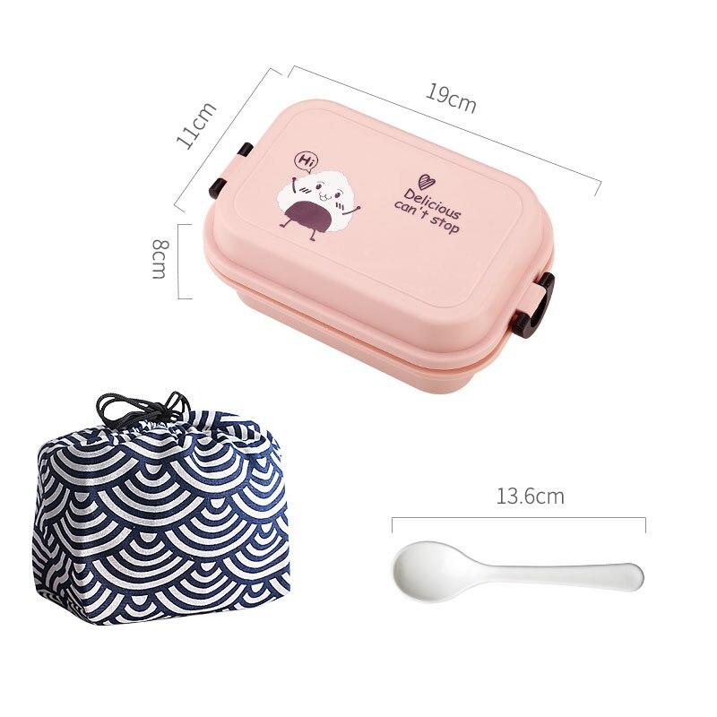 1000 мл прямоугольная коробка для ланча микроволновая печь японский Bento Box детский пищевой контейнер для хранения Портативный школьный пикник с ложкой для обеда - Цвет: Pink With Bag