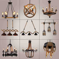 Black Rope Chandelier wrought iron chandelier Kitchen Bar Shopping mall Vintage Loft Retro Chandelier Lighting