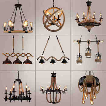 Black Rope Chandelier wrought iron chandelier Kitchen Bar Shopping mall Vintage Loft Retro Chandelier Lighting - DISCOUNT ITEM  30% OFF All Category