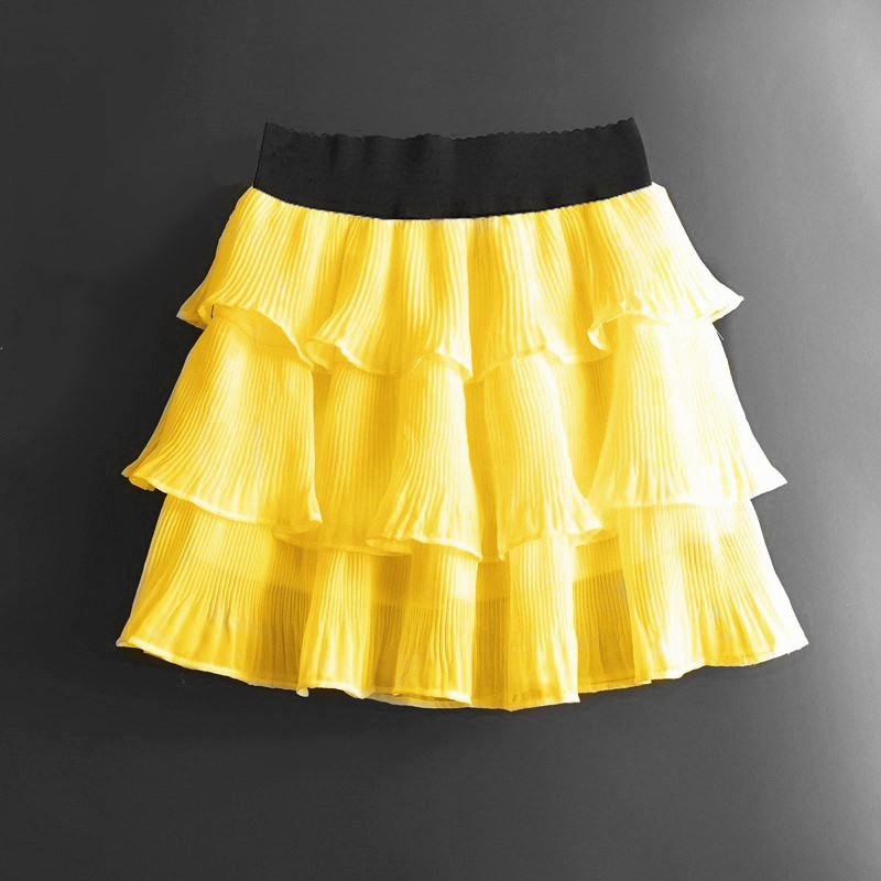 Summer Mini Skirts Women Girls Cute Sweet A Line Skirt Black White Chiffon Skirt Women Elastic Waist High Pleated Mini SkirtPant