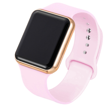 Sportowy zegarek elektroniczny LED dla kobiet i mężczyzn nowość silikonowy pasek kolor różowy aktywność fizyczna 2020 tanie tanio GoGoey QUARTZ Sprzączka CN (pochodzenie) STAINLESS STEEL bez wodoodporności Moda casual 21mm ROUND 2 8mm Wyświetlacz LED