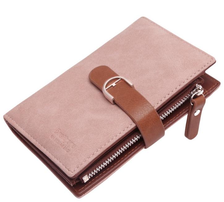 Новейший женский кожаный винтажный кошелек, брендовый дизайнерский кошелек на молнии для монет, кошельки, держатель для карт, клатч для девочек - Цвет: Розовый