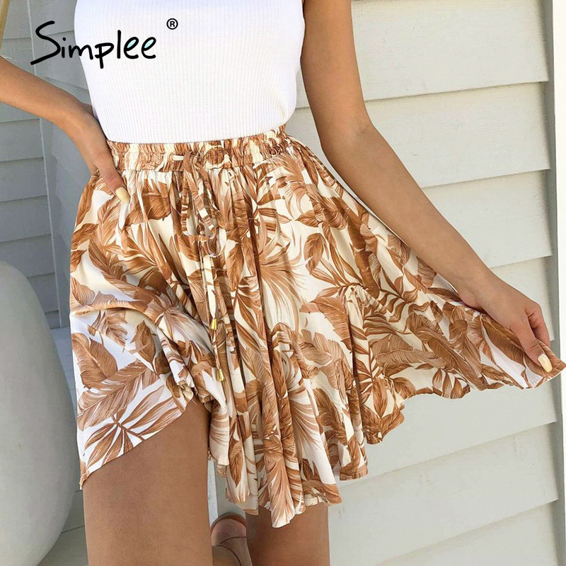 Simplee Casual Boho Summer Skirt Women Beach Skirt Women High Waist Elastic Ruffles Skirt Femme Leaf Orange Holiday Mini Skirt