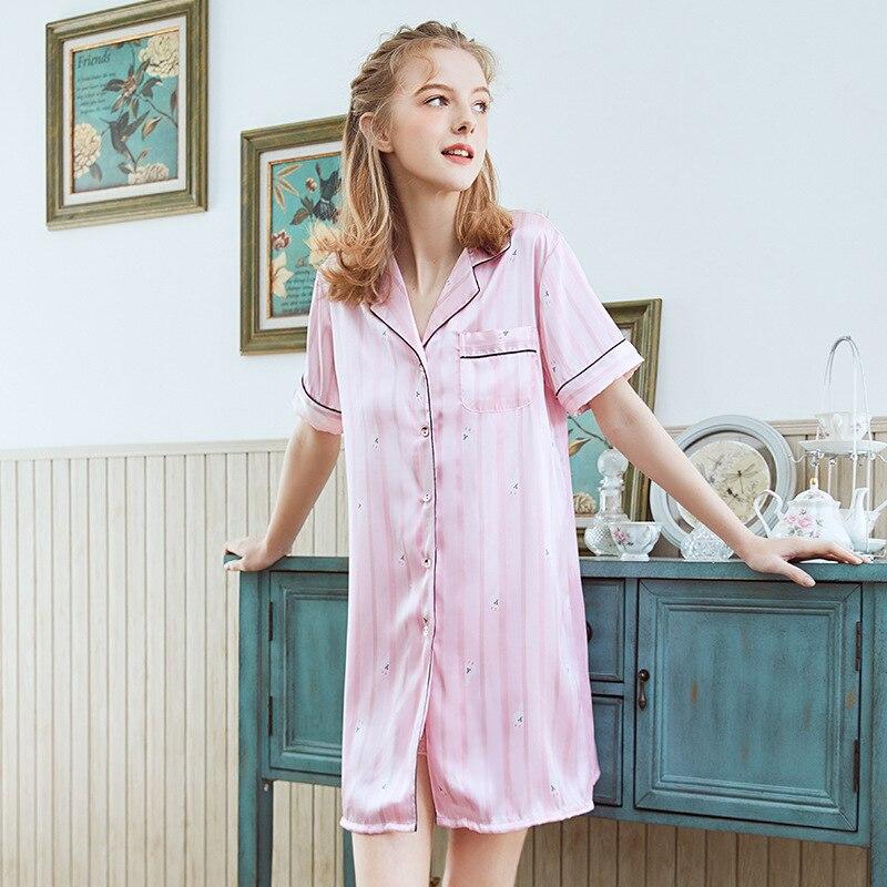 Yao Ting Tiao Wen Kuan Silk WOMEN'S Pajamas Spring Summer Comfortable Sexy Nightgown Tracksuit Sq1155