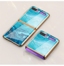 Marble tempered glass Case For Samsung Galaxy Z Flip Case Plating frame Hard PC Back Cover For Samsung Galaxy Z Flip Luxury Capa