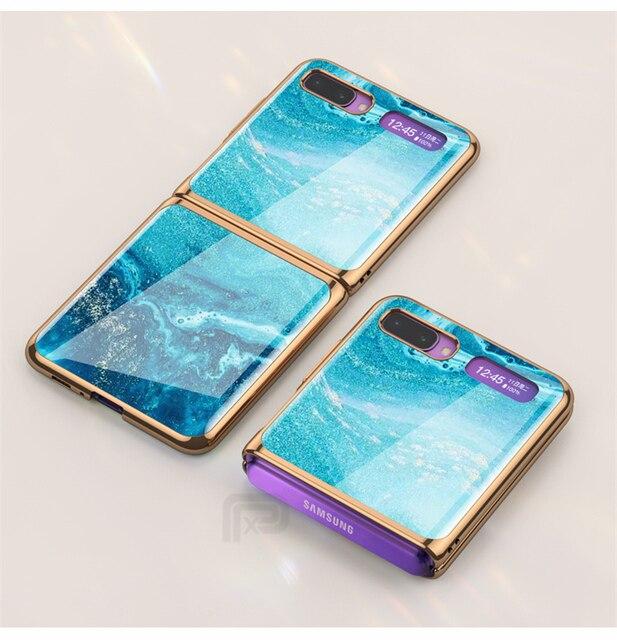 Étui en verre trempé en marbre pour Samsung Galaxy Z étui à rabat cadre de placage coque arrière rigide pour Samsung Galaxy Z rabat Capa de luxe