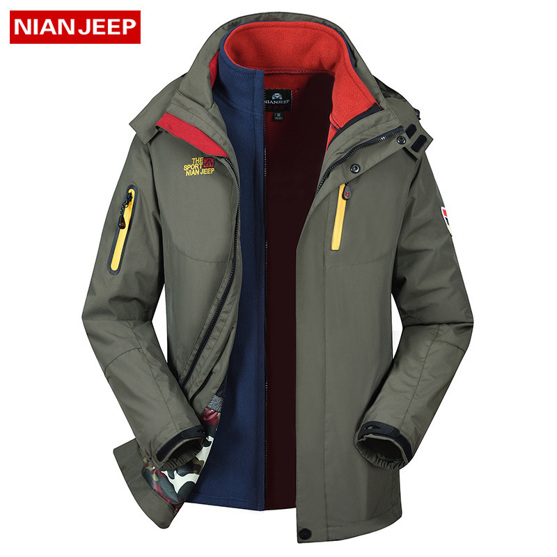 Spring And Autumn Three-in-one Fleece Liner Detachable Mountaineering Clothing Two-piece Outerwear Male