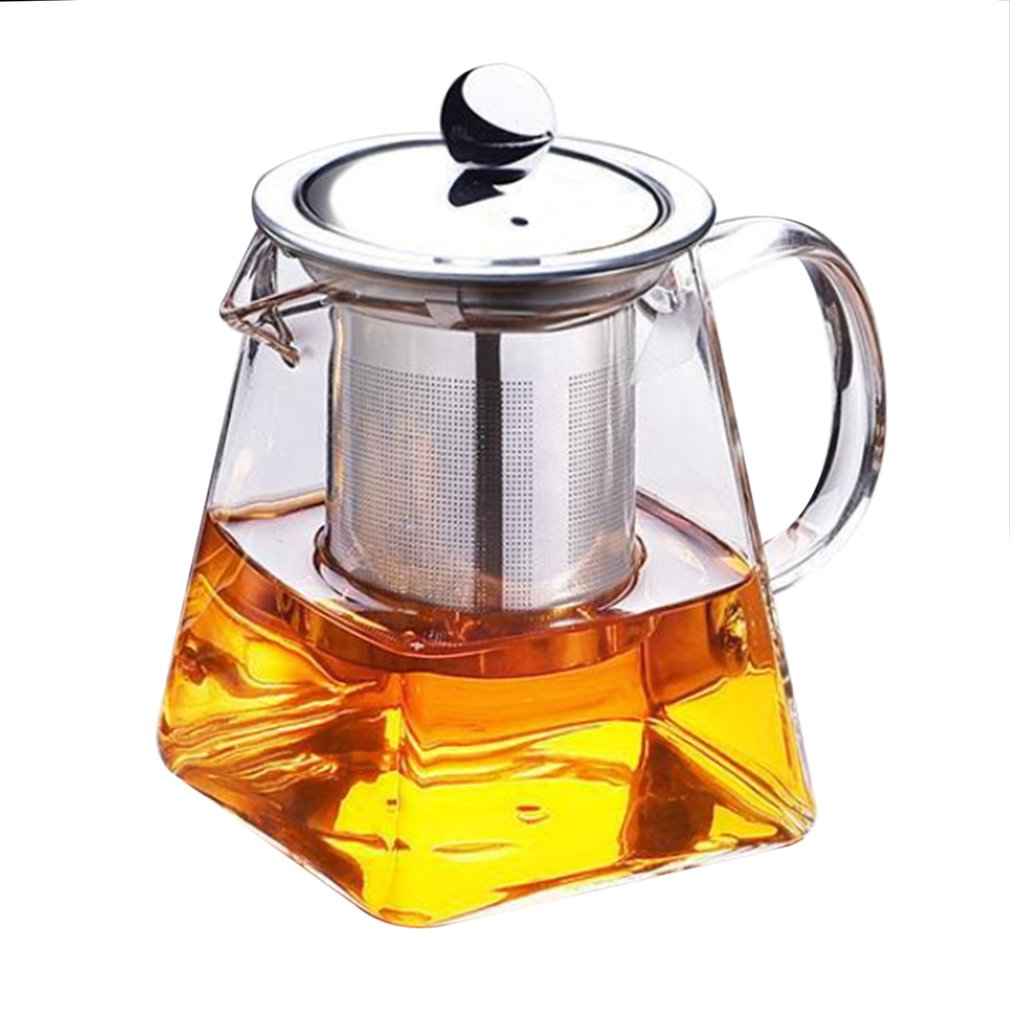 350ML Home Transparent Clear Borosilicate Glass Teapot Elegant Glass Tea Cup Teapot With Stainless Steel Infuser Strainer