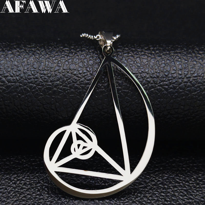 2019 Dolden Triangle Stainless Steel Necklace - <font><b>Fibonacci</b></font> - Golden Ratio <font><b>Pendant</b></font> (3.5mm) size With 50cm Chain Jewelry N19352 image