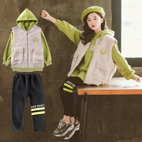 2020 Fashion Kids Girls Clothing Sets Casual Vest + Sweatshirts Hoodies +Leggings 3pcs for Teenage Children Clothes School Suit