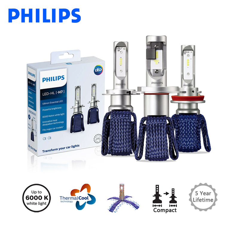 <font><b>Philips</b></font> <font><b>LED</b></font> H4 <font><b>H7</b></font> H8 H11 H16 9005 9006 9012 HB3 HB4 H1R2 White Light Ultinon Essential <font><b>LED</b></font> Car 6000K Auto <font><b>Headlight</b></font> Lamps, 2X image