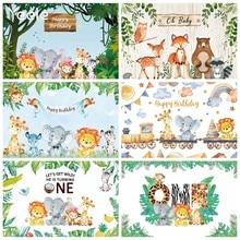 Yeele selva animais pano de fundo do bebê aniversário safari banner photozone criança personalizado fundo fotográfico para estúdio de fotos