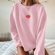 Женский свитшот с принтом клубники повседневная одежда для отдыха