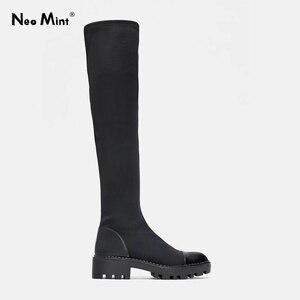 Image 1 - 2020 Slim למתוח לייקרה הברך גבוהה מגפי פלטפורמת חורף מגפי נשים ארוך מגפי חורף נעלי נשים גרב מגפי מעל את הברך מגפיים