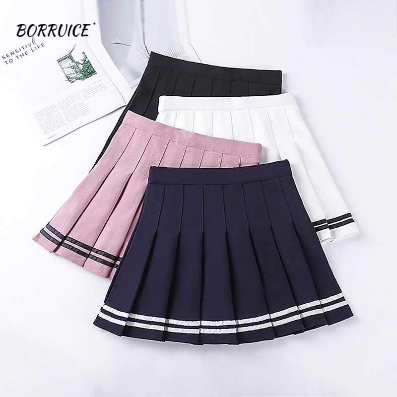 2020 Skirts Womens High Waist Striped Stitching Mini Dance Skirt Elastic Waist Sweet Girl Pleated Skirts Summer Skort Women