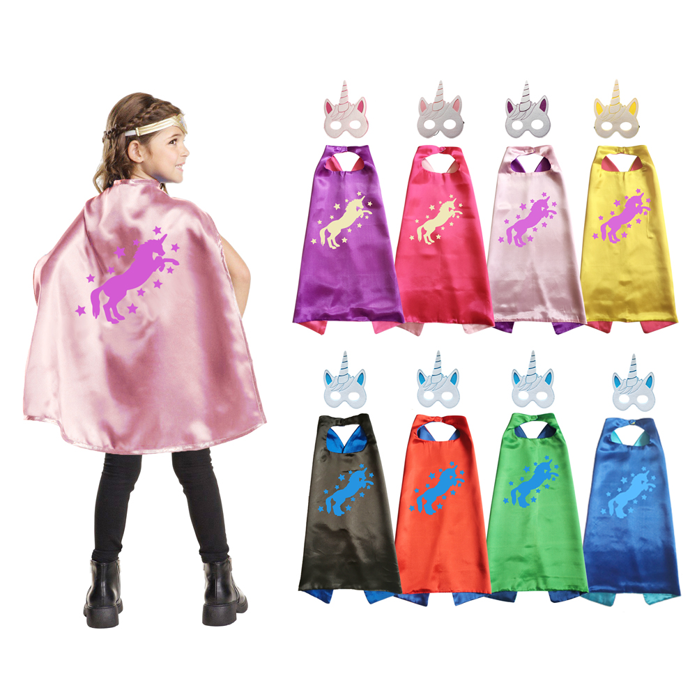 Unicorns Costume Superhero Capes With Masks Halloween Costumes Girls Dress Up Birthday Party Favor Cosplay