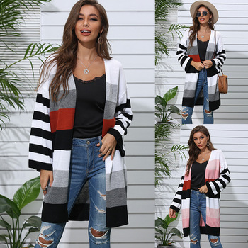 Spring Autumn New Striped Women Sweater Cardigan Tops Korean Long Sleeve Knitted Cardigans Ladies Casual Loose Sweaters 2020 2020 long cardigan women sweater autumn winter bat sleeve knitted sweater plus size jacket loose ladies sweaters cardigans