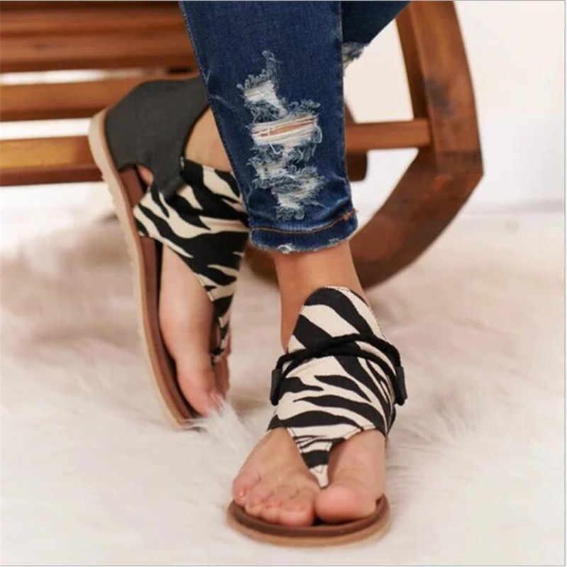 2020 Summer Roman Retro Women Sandals Leopard Print Shoes Women Andals Large Size 35-43 Flats Sandals Women Beach sandals woman