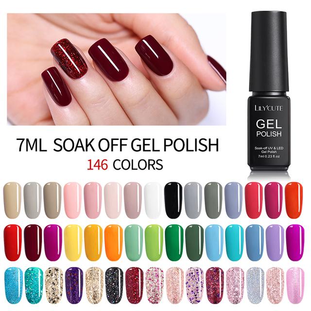 LILYCUTE 7ML UV Gel Varnish Nail Polish Set For Manicure