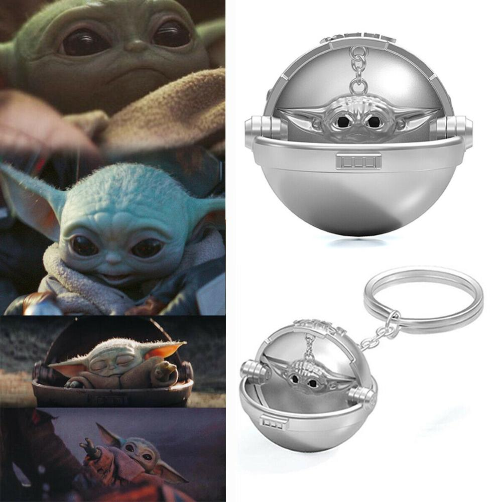Baby Yoda Silver Keychain The Mandalorian KeyringHanging Chain Star Wars Cosplay Costume Props Accessories Valentine's Day Gifts