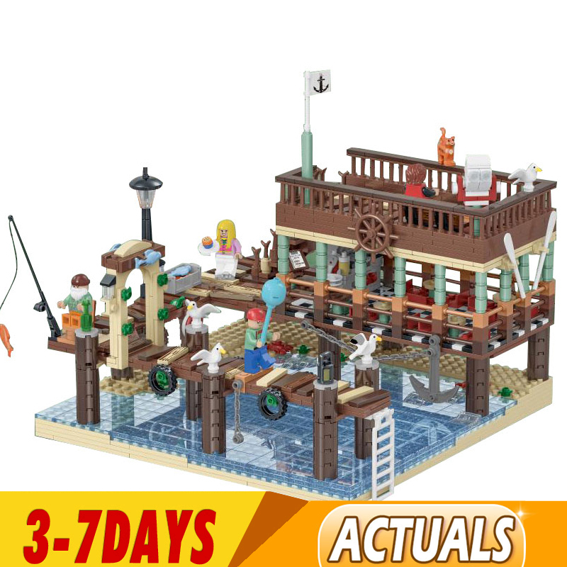 DHL 21310 Idea City Street The Old Fishing Store Modular Buildings 16050 Creator Fish House Pier Model Building Blocks Kid Toys 1