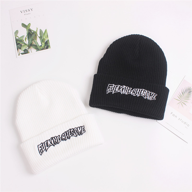 Hat Men Women FUC Awesome Embroidery Winter Beanies Knit Turban Skullies Streetwear Hip Hop Bone 2019 Korean Bini Czapka Zimowa