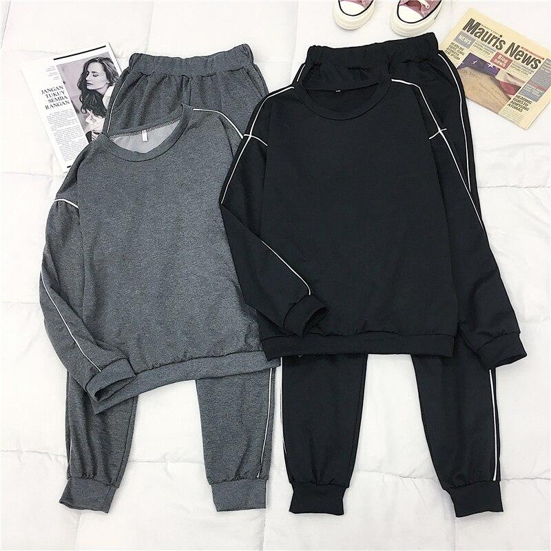 Mooirue Women Sports Suits 2 Piece Sets Autumn Winter M-4XL Plus Size Stripe Long Sleeve Top Casual Pant Vintage Plus Size Set