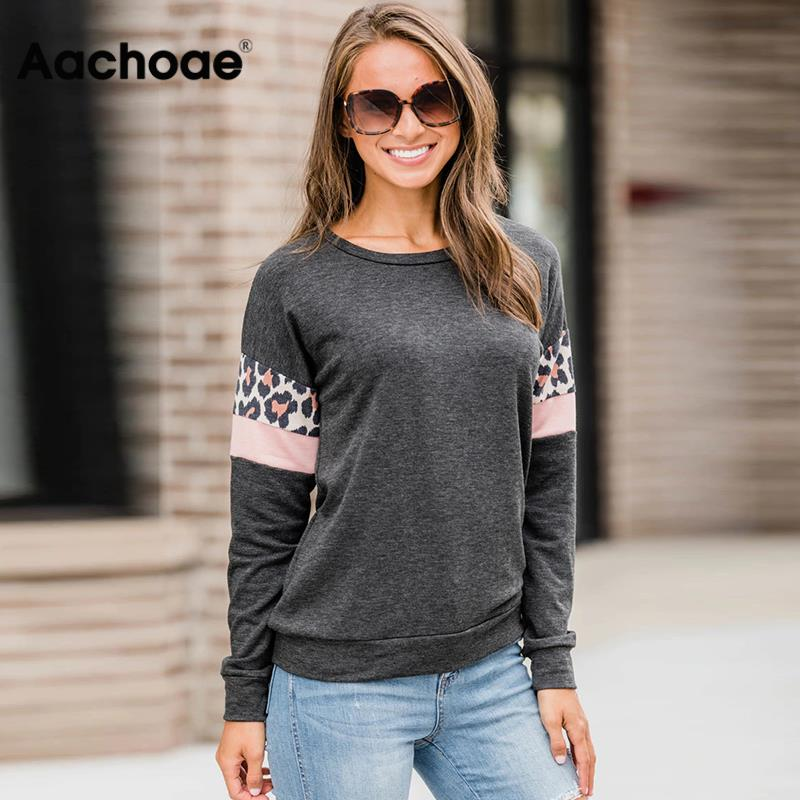 Women Hoodies And Sweatshirts 2020 Autumn Leopard Print Long Sleeve Caual Pullover Fashion Stripe Patchwork O-neck Top Sudaderas