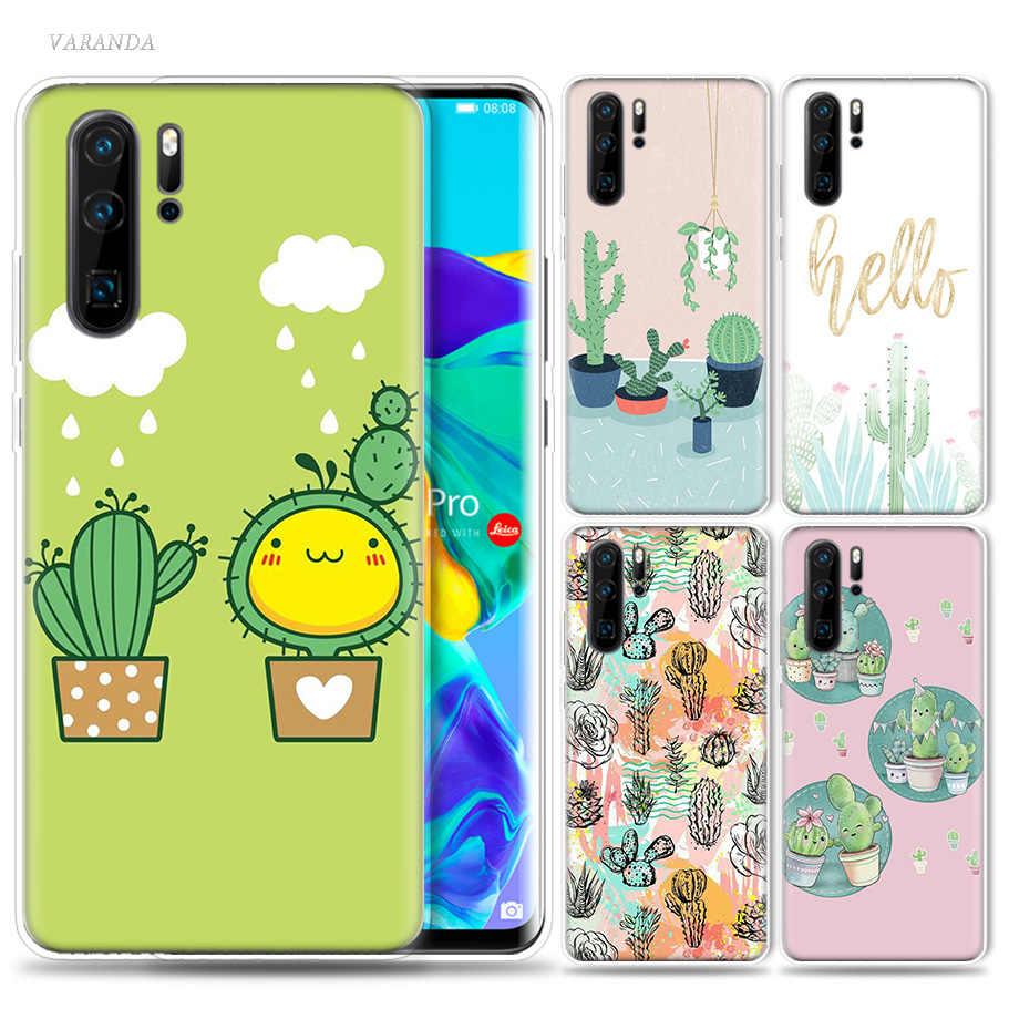 Aesthetic Art of Cactus Case for Huawei P20 P30 P Smart Z Plus Mate 30 10 20 Nova 5 5i P10 P9 lite Pro Silicone Phone Bags Cover