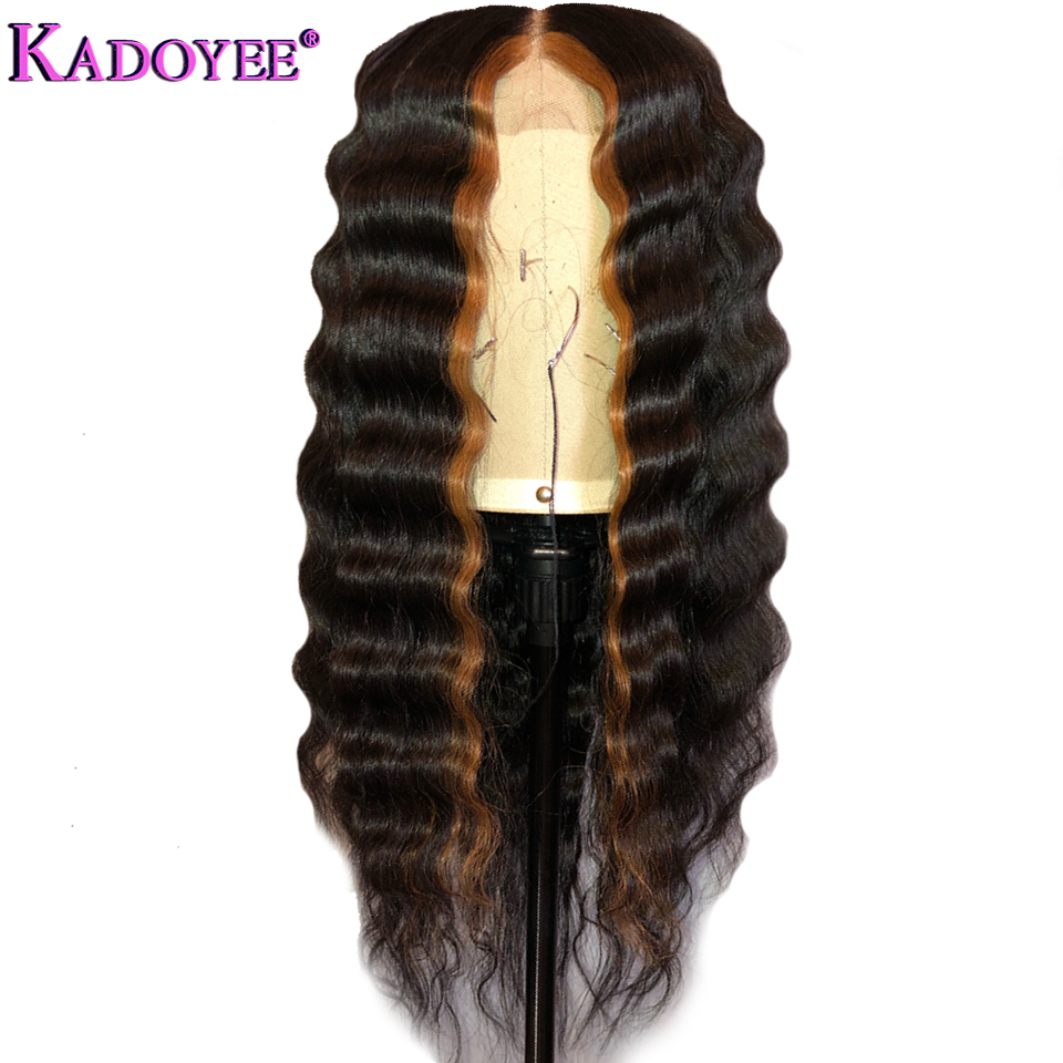 New Brazilian Deep Wave Lace Front Wig With Pre Plucked Hairline Ombre 1B 30 Color 13*4 Ear To Ear Human Hair Lace Frontal Wig