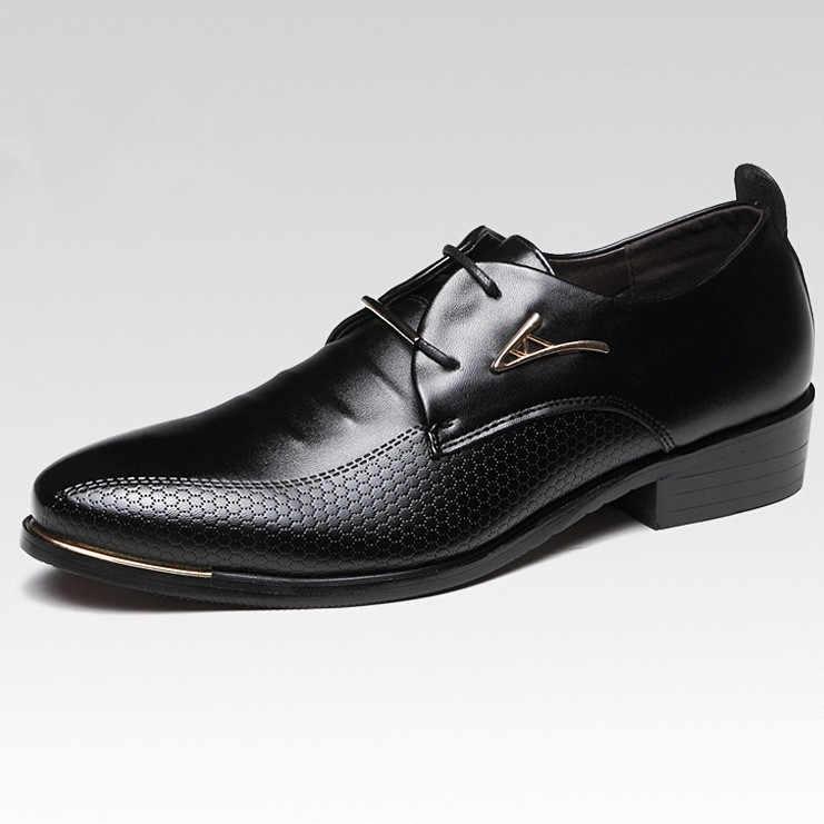 Novo oxford sapatos para homens moda sapatos de couro casual escritório formal sapatos de renda até vestido de festa de casamento sapatos