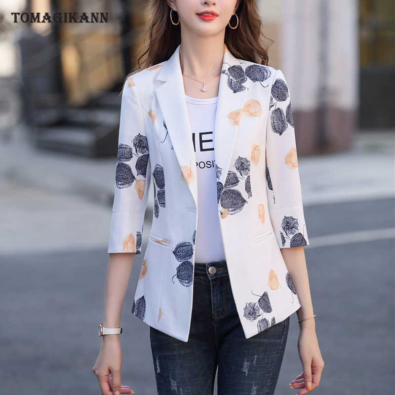 2020 New 5XL Womens Business Suits Spring Autumn Floral Print White Women Blazers Jackets Slim Half Sleeve Blazer Women Suit