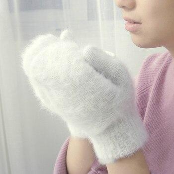 cute rabbit wool gloves female winter mittens  factory outlet fur fingerless women girls - discount item  65% OFF Gloves & Mittens