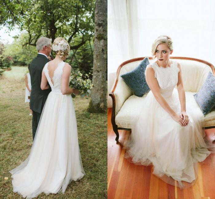 2016 Wedding Dresses Real-image SSJ Backless Tulle White Bridal Gowns Long Dress Lace Beach Formal Gown Babybride D2008