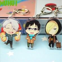 цена на Free shipping 16 Styles Anime YURI!!! on ICE Keychain Victor Nikiforov Yuri Katsuki Acrylic Keyring Chaverio Llavero B092