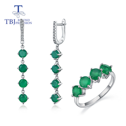 Hot sales natural green agate jewelry set 925 sterling silver fashion fine jewelry for girl & women anniversary or daily wear