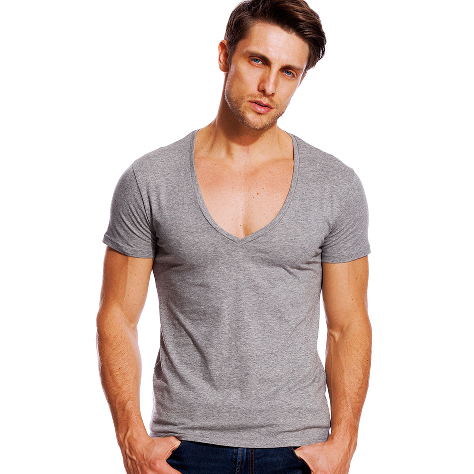Men Summer Short Sleeve Plain T Shirt Slim Fit Low V-neck Muscle Tops Tee