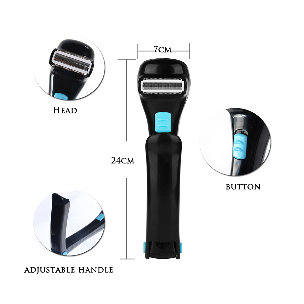 180 Degrees Foldable Electric Back Hair Shaver Battery Manual Long Handle Hair Remover for Male's Back Hair Shaving Foldable