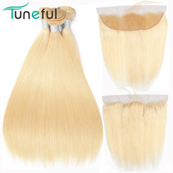 613 Blonde Bundles With Frontal Tuneful Brazilian Straight Remy Human Hair 3 Bundles With Pre Plucked Lace Frontal Closure