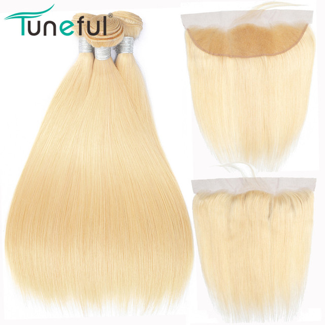 613 Blonde Bundles With Frontal Tuneful Brazilian Straight Remy Human Hair 3 Bundles With Pre Plucked Lace Frontal Closure|3/4 Bundles with Closure|   -