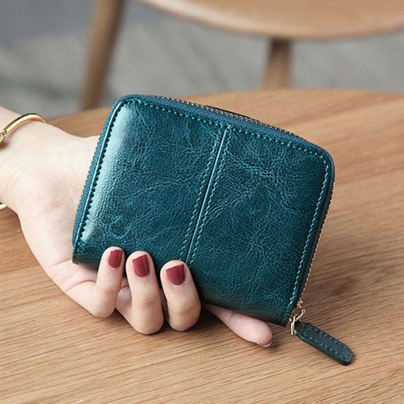 Image 3 - Billfold Oil Wax Genuine Leather Wallets Women Short Mini Clutch Purse Soild Coin Pocket Credit Card Holder Cowhide BagWallets   -