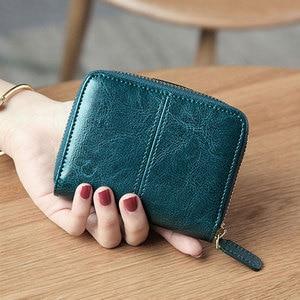 Image 3 - Billfold Oil Wax Genuine Leather Wallets Women Short Mini Clutch Purse Soild Coin Pocket Credit Card Holder Cowhide Bag
