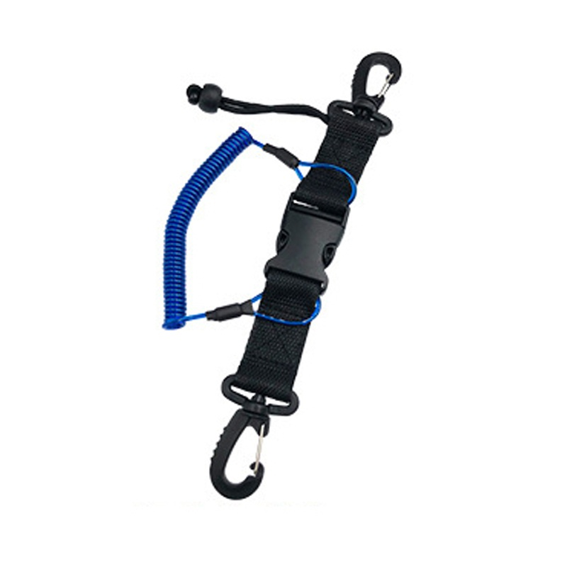 1pcs Diving Coil Lanyard Diving Lanyard With Dual Clips Quick Release Buckle Diving Tool Anti-lost Spring Rope