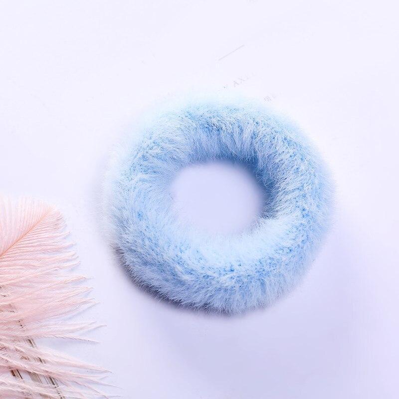 Новые зимние теплые мягкие резинки из кроличьего меха для женщин и девушек, эластичные резинки для волос, плюшевая повязка для волос, резинки, аксессуары для волос - Цвет: 46