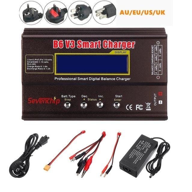 B6 v3 80w 6a lipo bateria balance carregador descarregador versão de atualização com adaptador de alimentação